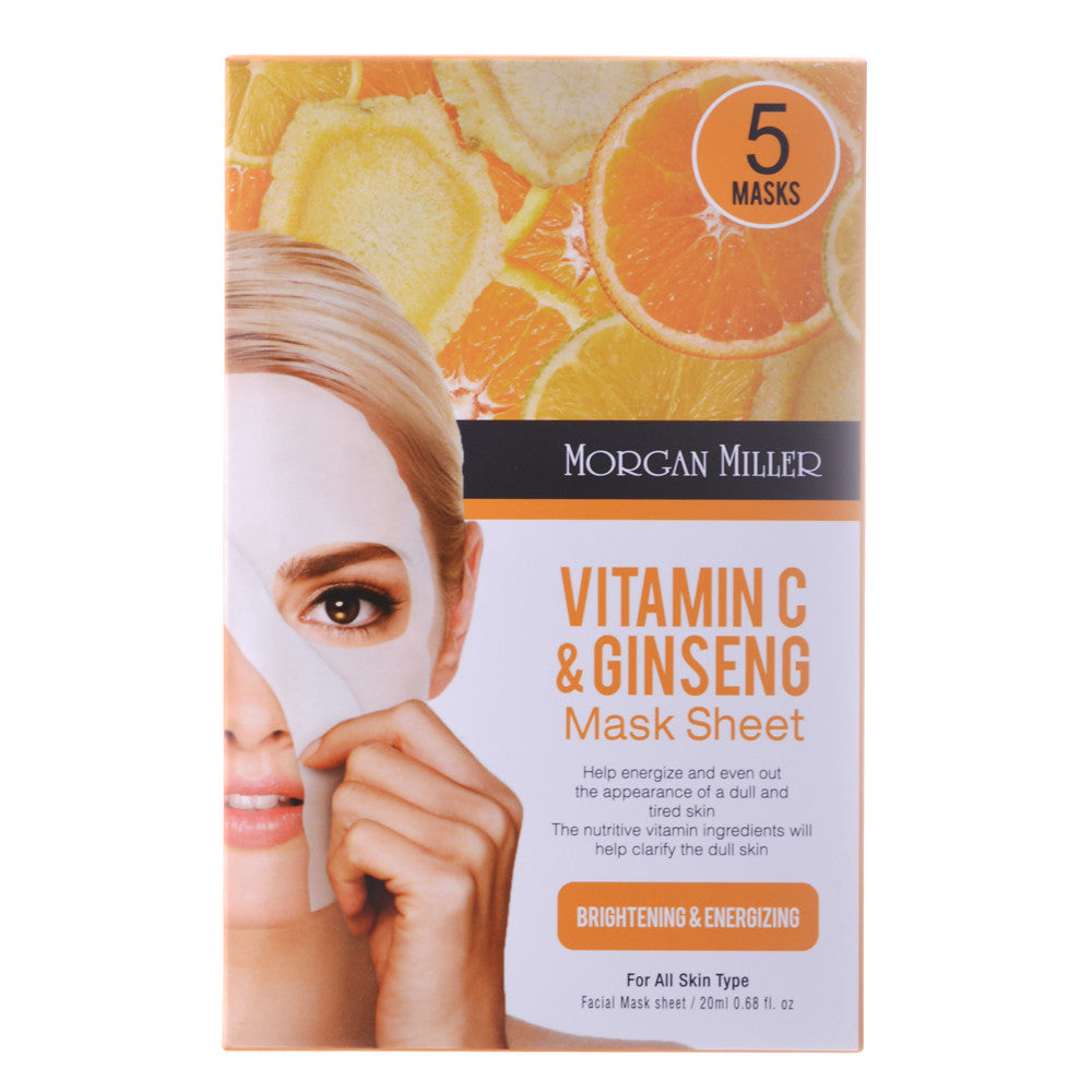 Vitamin C & Ginseng Mask Sheet, 5 Masks