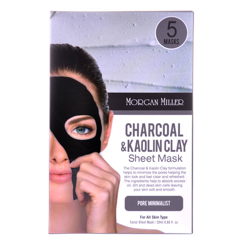Charcoal & Kaolin Clay Sheet Mask, 5 Masks