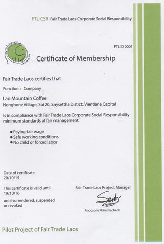 Our Fair Trade Lao Certificate