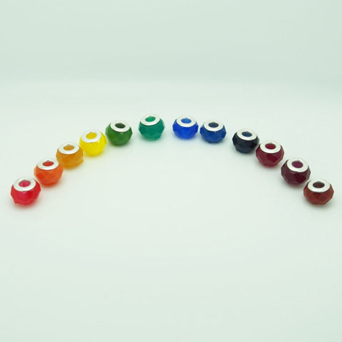 Clear Faceted resin bead colour range