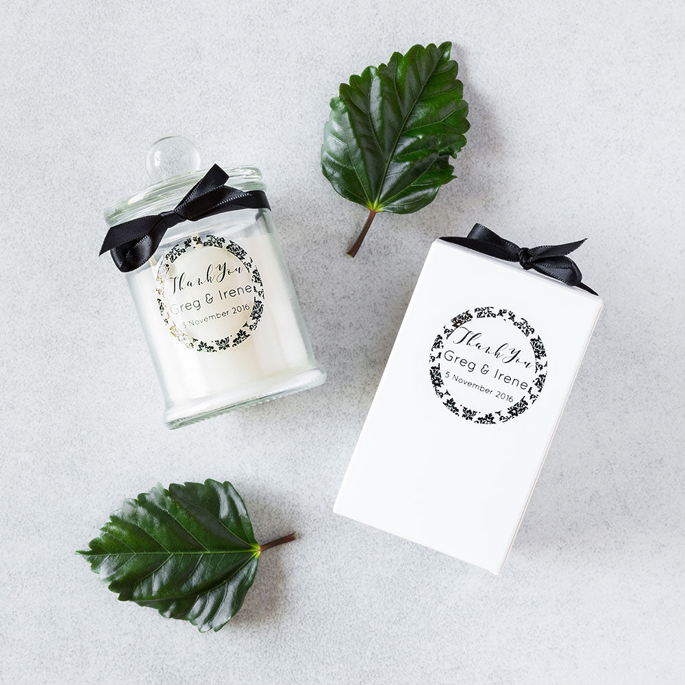 ... Personalised wedding favours/bonbonniere candle ...