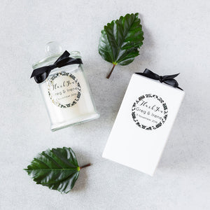 Personalised wedding favours/bonbonniere candle