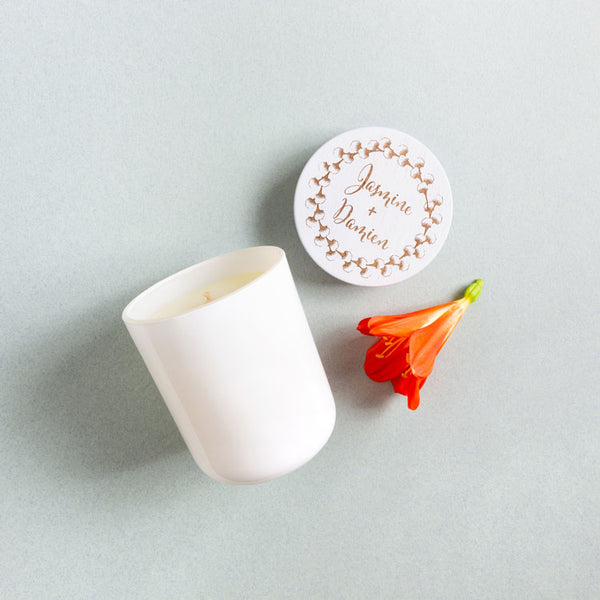 Medium Engraved White Wedding Candle