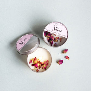 Luxe Soy Candle Tin Wedding Favours - Rose Petals