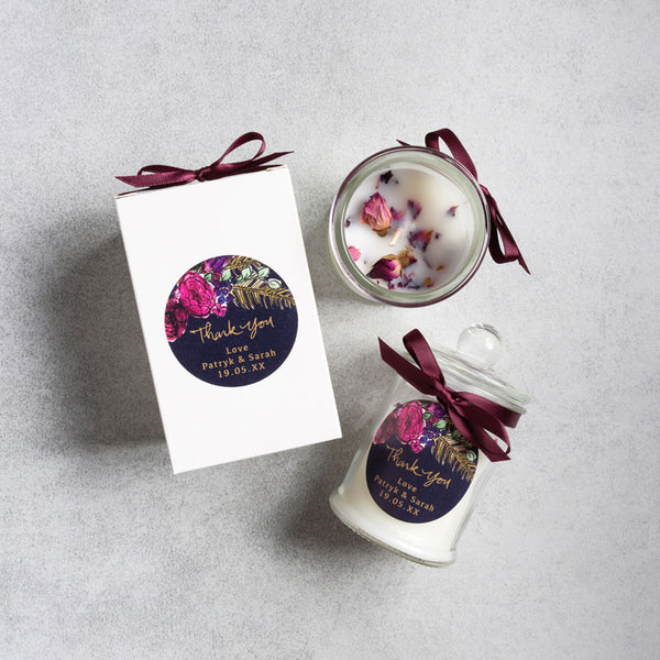 Luxe Boxed Wedding Favour Candle - Rose Petals