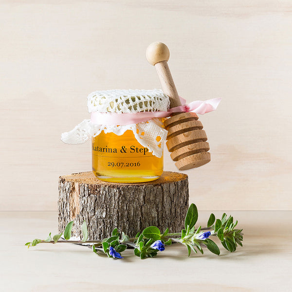 Personalised wedding favours/bonbonniere honey