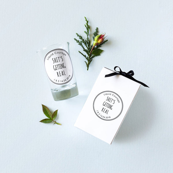 Personalised wedding favours/bonbonniere shot glass