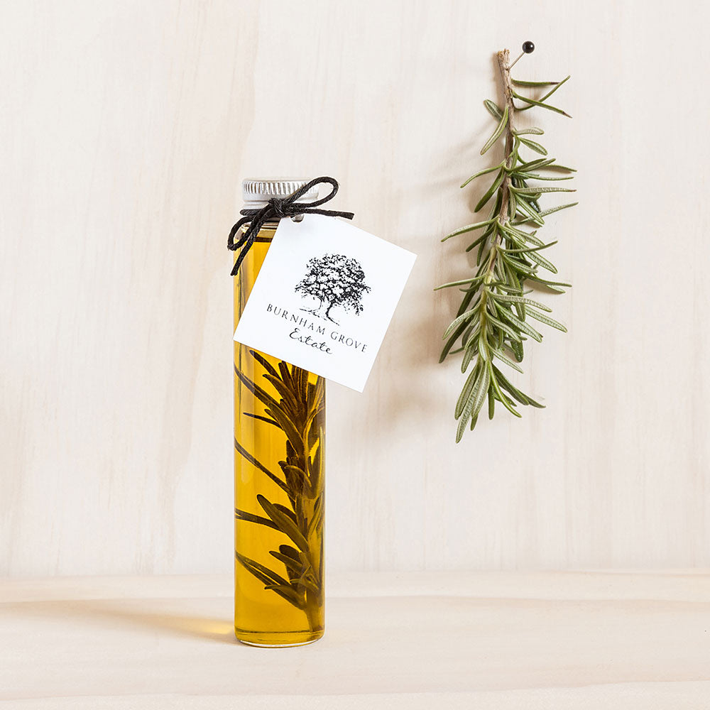Glass Rosemary Olive Oil Tube with Swing Tag - Custom Favours