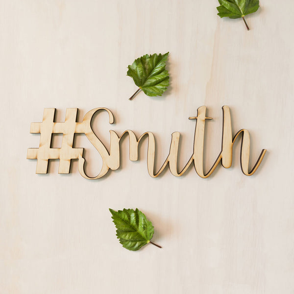 Hashtag Sign Wooden
