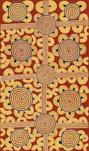 Australian Aboriginal Art Painting by Dave Pwerle Ross of Utopia in 1991.