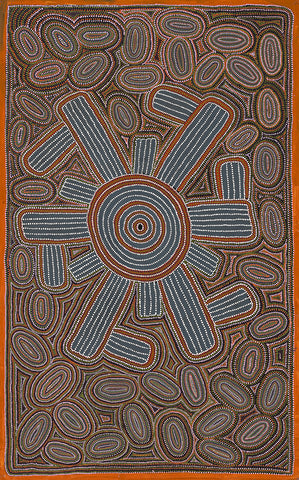 Australian Aboriginal Art Painting by Lindsay Bird of Utopia in 1992.