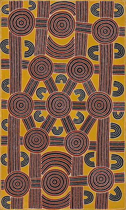 Australian Aboriginal Art Painting by Dave Pwerle Ross of Utopia in 1992.