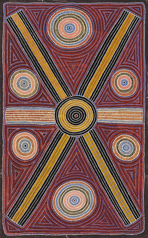 Australian Aboriginal Art Painting by Lindsay Bird of Utopia in 1994.