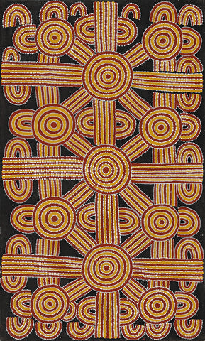 Australian Aboriginal Art Painting by Dave Pwerle Ross of Utopia in 1994.