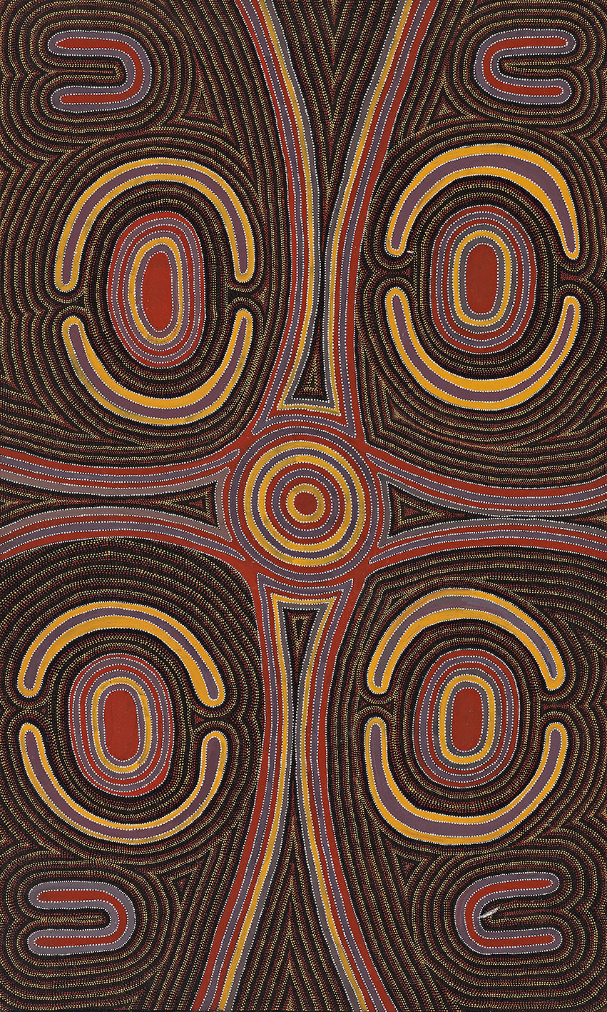 Australian Aboriginal Art Painting by Louie Pwerle of Utopia in 1994.