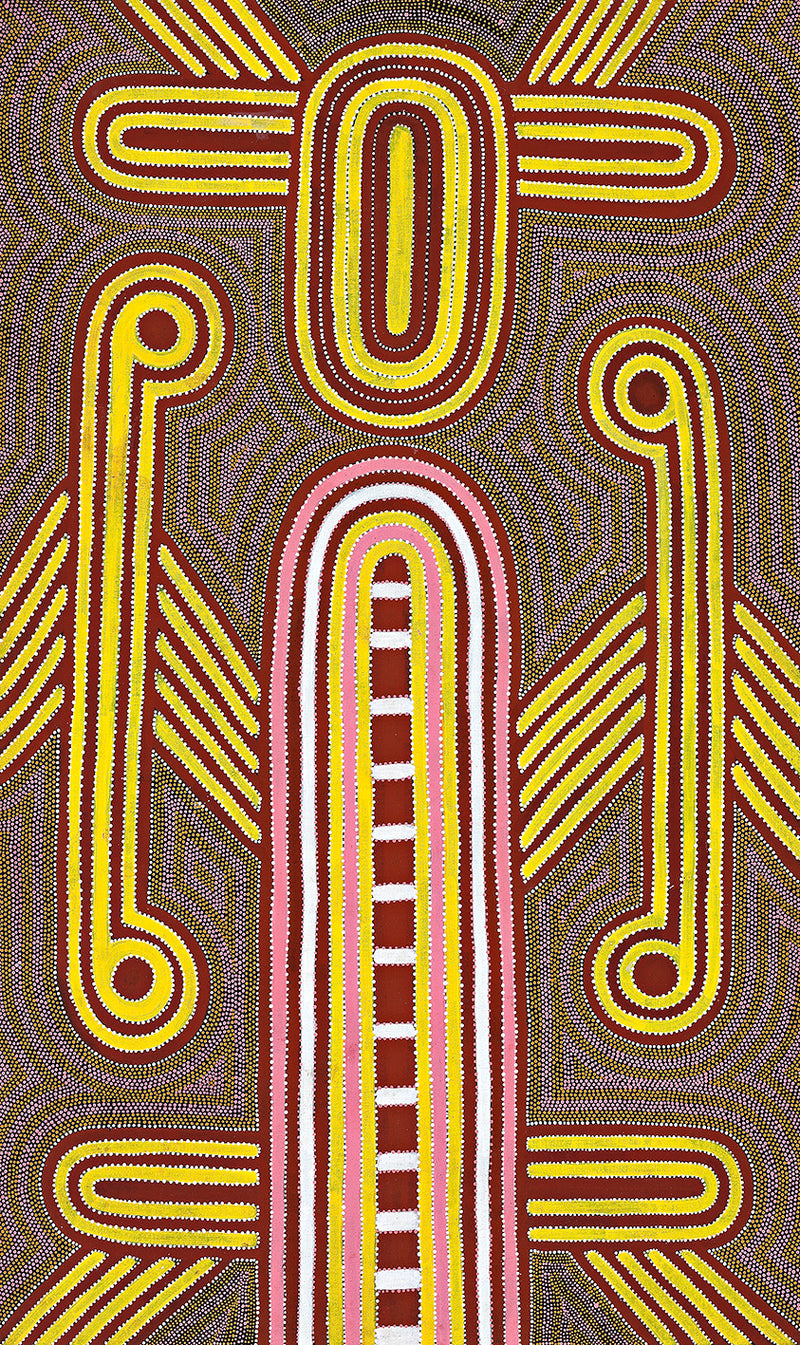 Australian Aboriginal Art Painting by Louie Pwerle of Utopia in 1996.