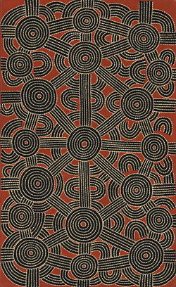 Australian Aboriginal Art Painting by Dave Pwerle Ross of Utopia in 1997.