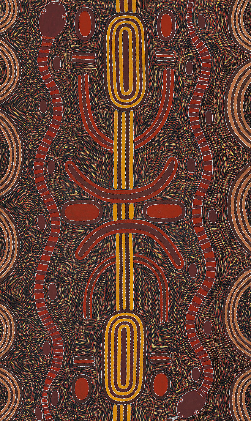 Australian Aboriginal Art Painting by Louie Pwerle of Utopia in 1997.
