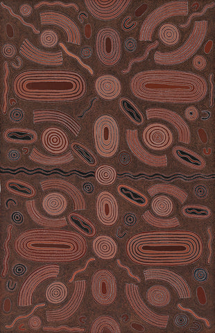 Australian Aboriginal Art Painting by Cowboy Louie Pwerle of Utopia in 1998.