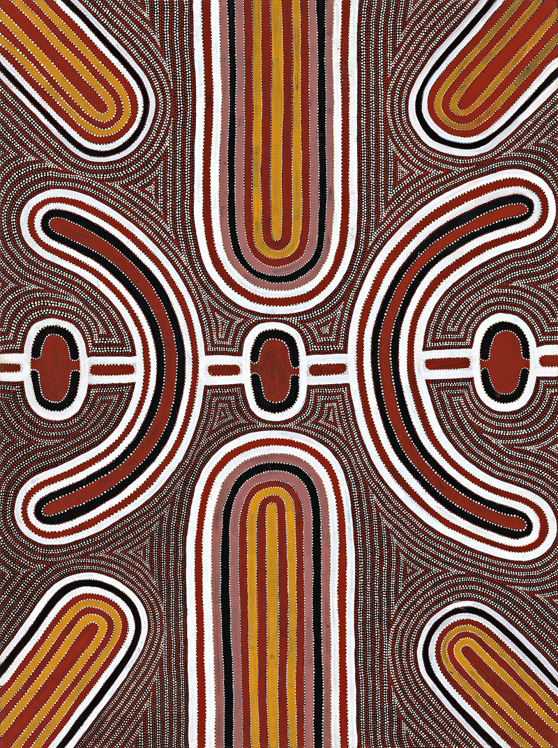 Australian Aboriginal Art Painting by Louie Pwerle of Utopia in 1998.
