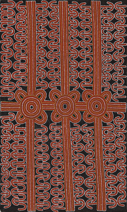 Australian Aboriginal Art Painting by Dave Pwerle Ross of Utopia in 1998.