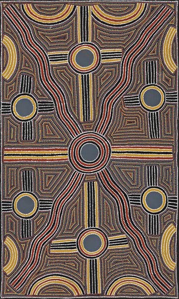 Australian Aboriginal Art Painting by Lindsay Bird of Utopia in 1999.