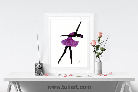 Ballerina Art Illustration - Ingrid Purple