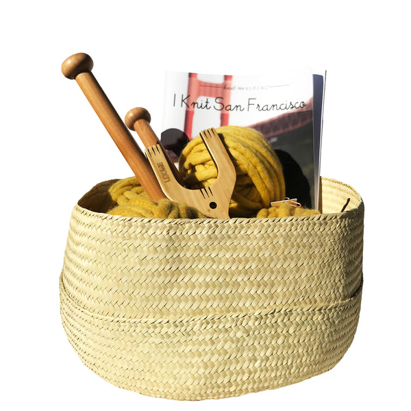 SOLD OUT KIT: I Knit SF Half Moon Rug Kit in Woven Basket