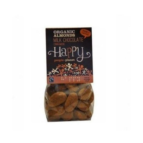 Happy People Org Almonds FT Milk Choc Cinn 150g - Vitalityfoods