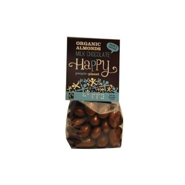 Happy People Org Almonds FT Milk Chocolate 150g - Vitalityfoods