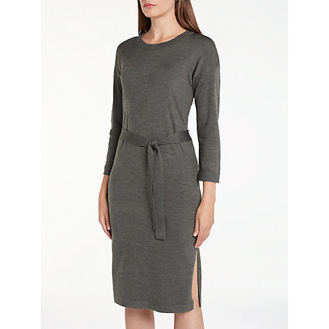 DARK GREY KNITTED MIDI DRESS WITH TIE BELT BY NUMPH