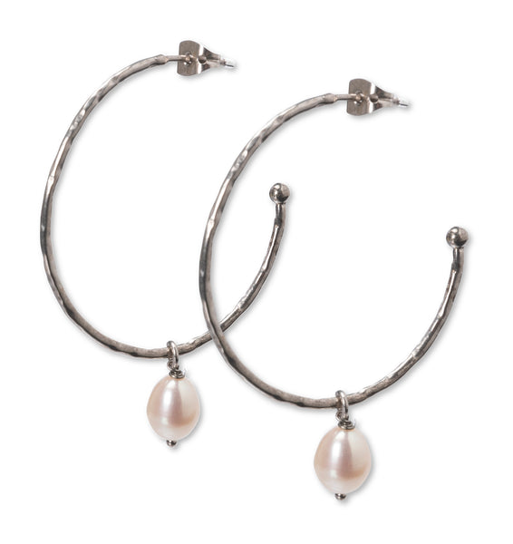 Hoops With Pearls Silver