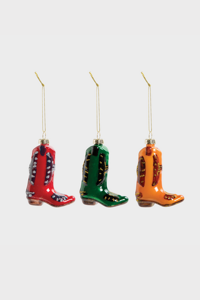 Cowboy Boot Xmas Baubles Set