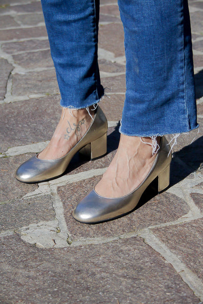 Handmade in Italy Metallic copper shoes Block heel pumps by Portamento