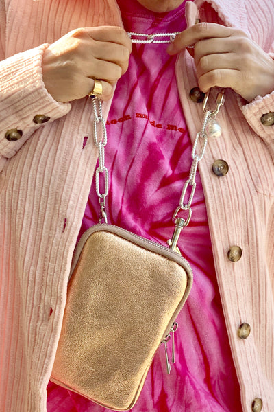 Crossbody Phone Bag Metallic Rose Gold