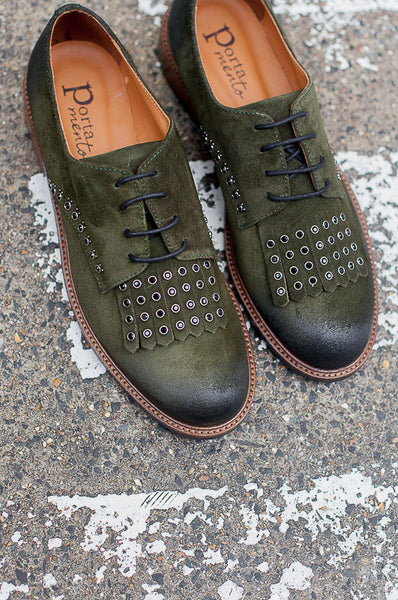 Handmade in Italy Green nubuck leather brogues by Portamento