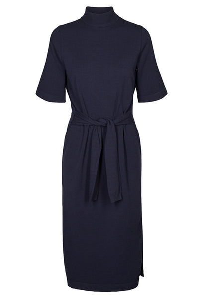 high neck midnight blue alfreda knit dress by numph
