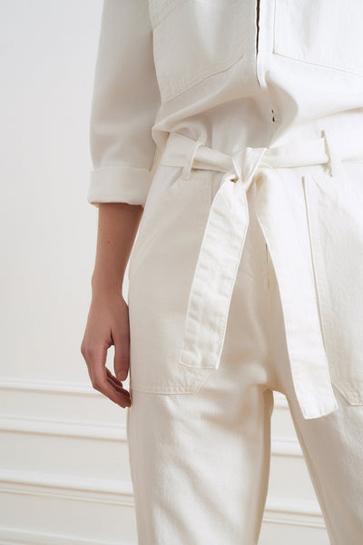 Celia Denim White Jumpsuit