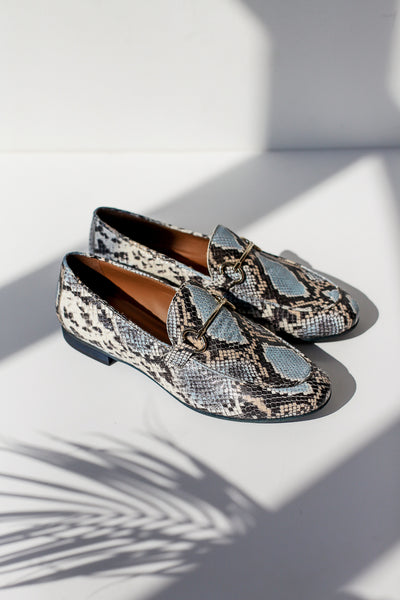 Lea Snake Blue Loafers