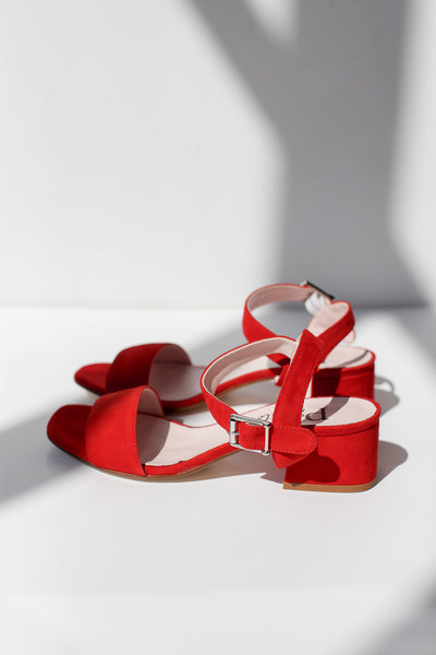 Lina Suede Red Sandals