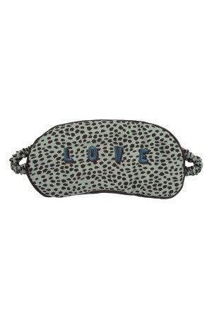 "Soft eye mask Subtle little leopard dot print Luxurious soft feel ""Love"" embroidery Brand: Love Stories"