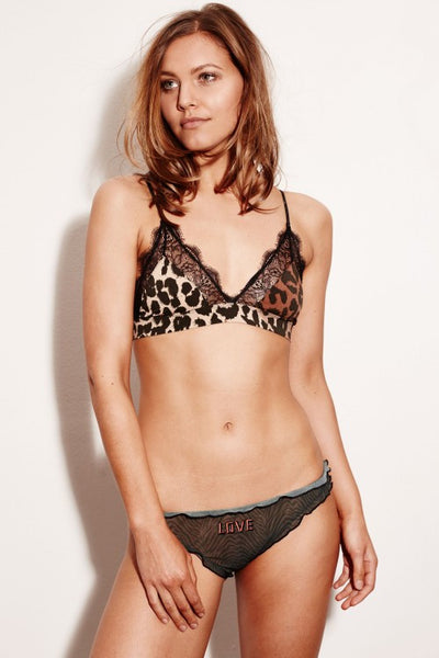 Leopard print cups Scalloped black lace lines Slender double straps Brand: Love Stories