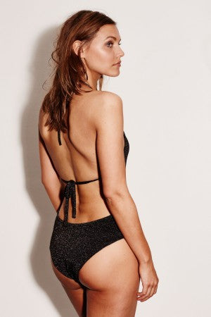 Glitter one-piece swimsuit Extra high-cut legs High halter neckline Low-cut back Brand: Love Stories
