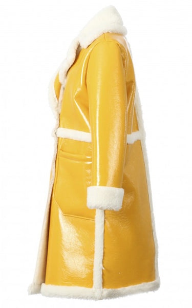 Affluente Yellow Patent Coat
