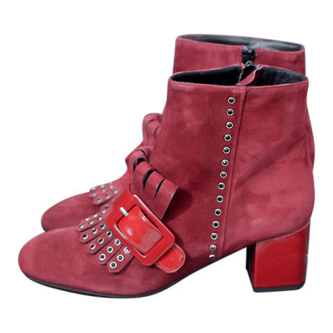 Handmade in Italy Burgundy suede leather ankle boots Block patent heel, 100% Leather by Portamento