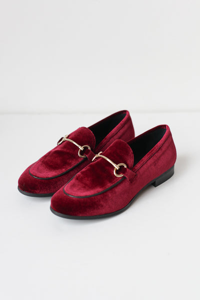 Lea Red Velvet Loafers