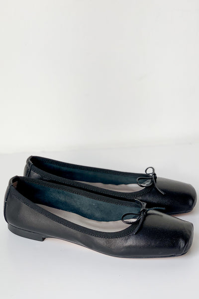 Giselle Black Leather Ballet Flats