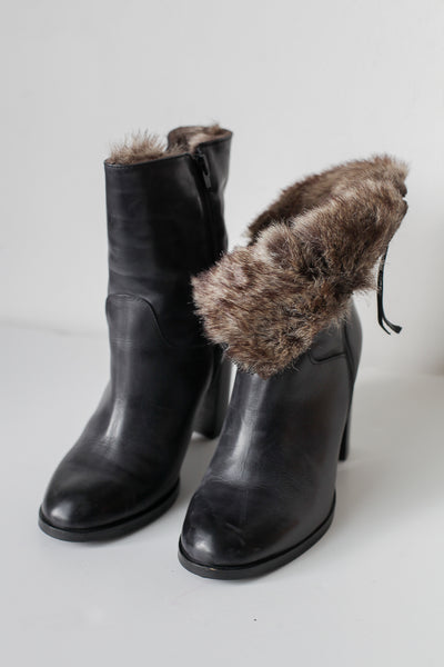 Jeanne Black Fur Ankle Boots