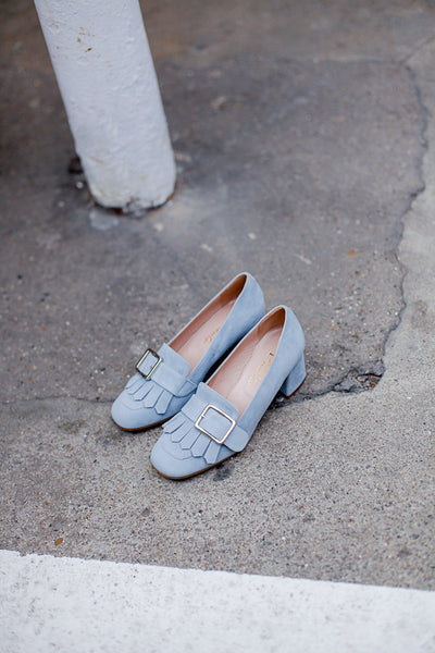 Handmade in Italy Light blue suede loafer by Portamento