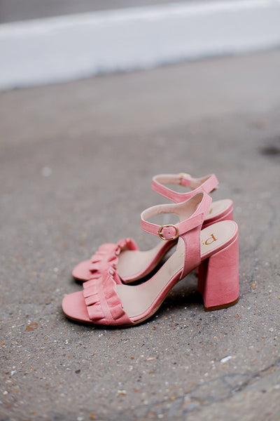Handmade in Italy Pink leather sandals Block pink covered heel Front ruffle by Portamento
